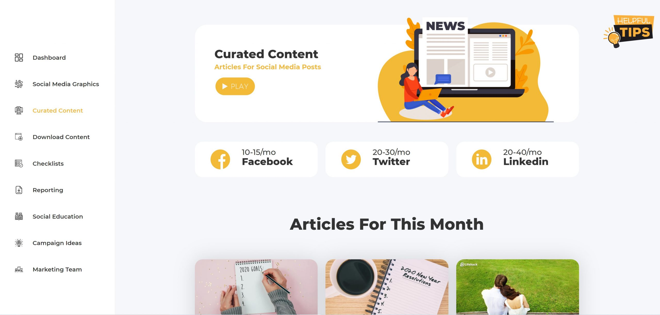 Easy to use curated articles