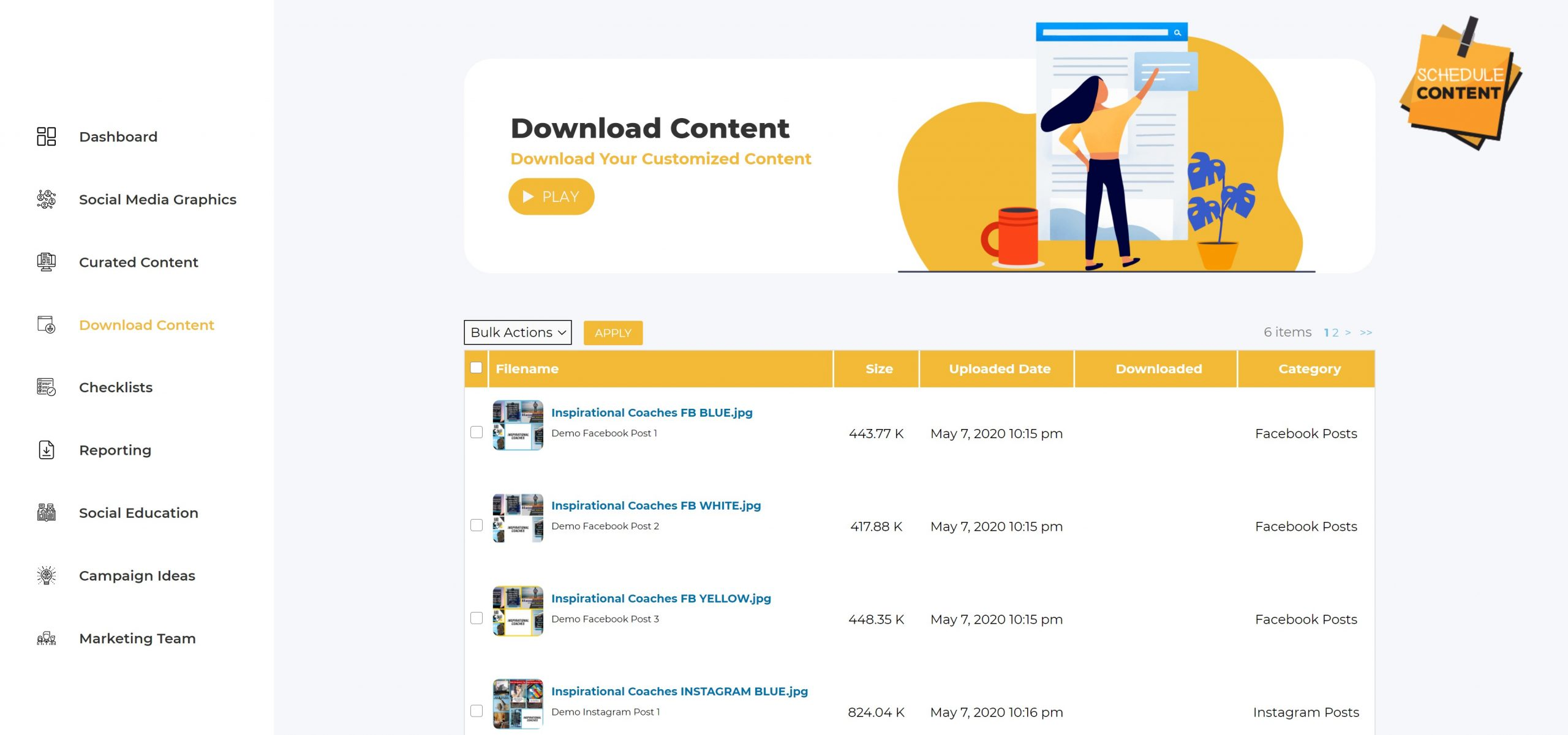 Download your customized content